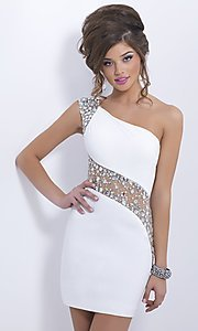 Short One Shoulder Beaded Dress by Blush C153