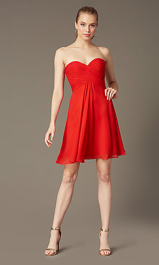 Short Strapless Cocktail Dress by Faviana 7420