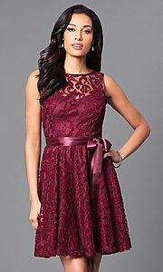 Image of sleeveless lace party dress with high scoop neck.  Style: SF-8760 Detail Image 1