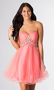 Short Strapless Prom Dress by Elizabeth K