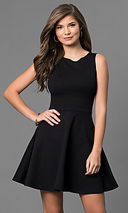 Sleeveless Short Black Dress with Cut Out Back