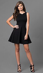 Image of short sleeveless a-line cut out back dress Style: CH-2420 Detail Image 1