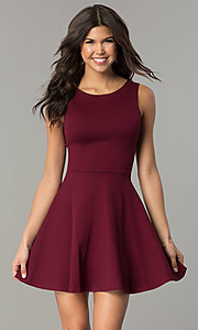 Image of short sleeveless a-line cut out back dress Style: CH-2420 Detail Image 3