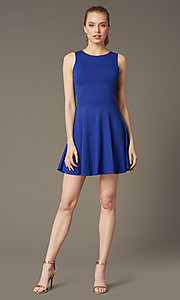 Image of short sleeveless a-line cut out back dress Style: CH-2420 Detail Image 2