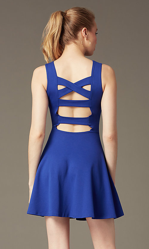 Image of short sleeveless a-line cut out back dress Style: CH-2420 Front Image