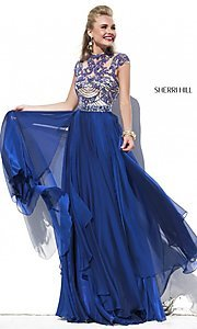 Cap Sleeve Long Beaded Prom Dress Sherri Hill 1933