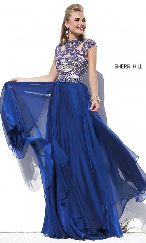 Image of Cap Sleeve Long Beaded Prom Dress  Style: SH-1933 Front Image