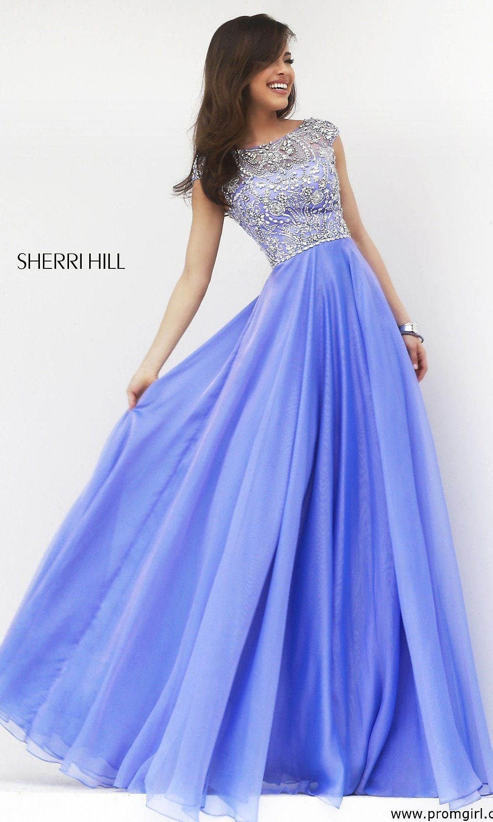Cap Sleeve Beaded Gown, Sherri Hill Prom Dress 32017