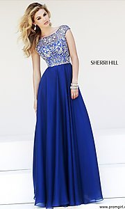 Cap Sleeve Beaded Gown by Sherri Hill 32017