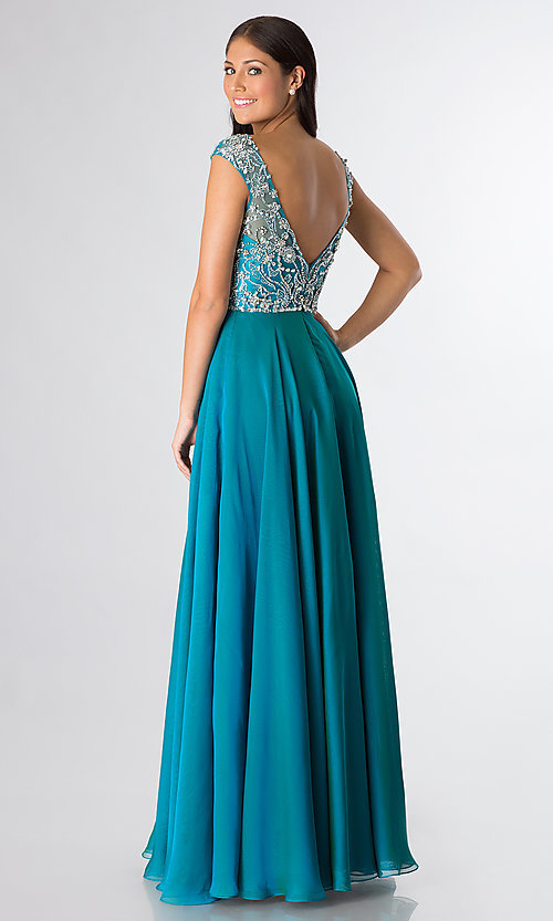 Image of Cap Sleeve Beaded Gown Sherri Hill 32017 Style: SH-32017 Back Image