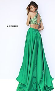 Image of Long Halter Two Piece Dress Sherri Hill  Style: SH-32020 Back Image