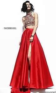 Image of Long Halter Two Piece Dress Sherri Hill  Style: SH-32020 Front Image