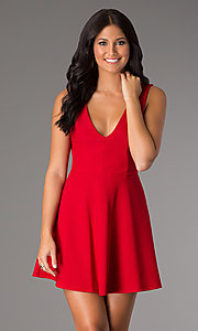 Image of short v-neck sleeveless a-line party dress. Style: CH-2435 Detail Image 1
