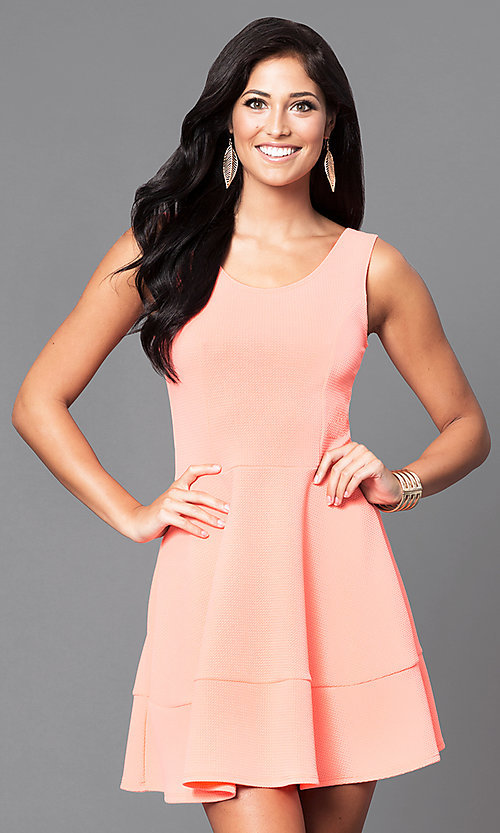 Image of short sleeveless scoop-neck day-to-night dress.  Style: CH-2399 Front Image
