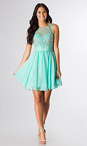 Image of short sleeveless beaded scoop-neck party dress. Style: DQ-8806 Detail Image 2