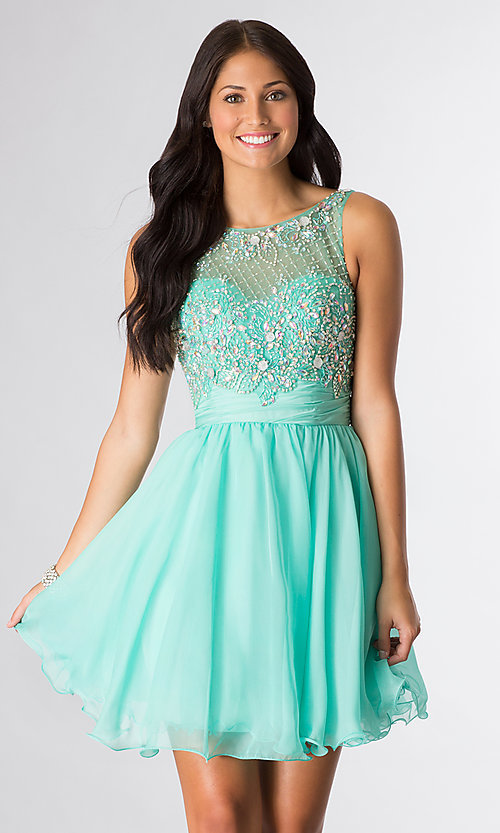 Image of short sleeveless beaded scoop-neck party dress. Style: DQ-8806 Detail Image 1
