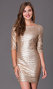 Short Gold Sequin Dress by Ruby Rox