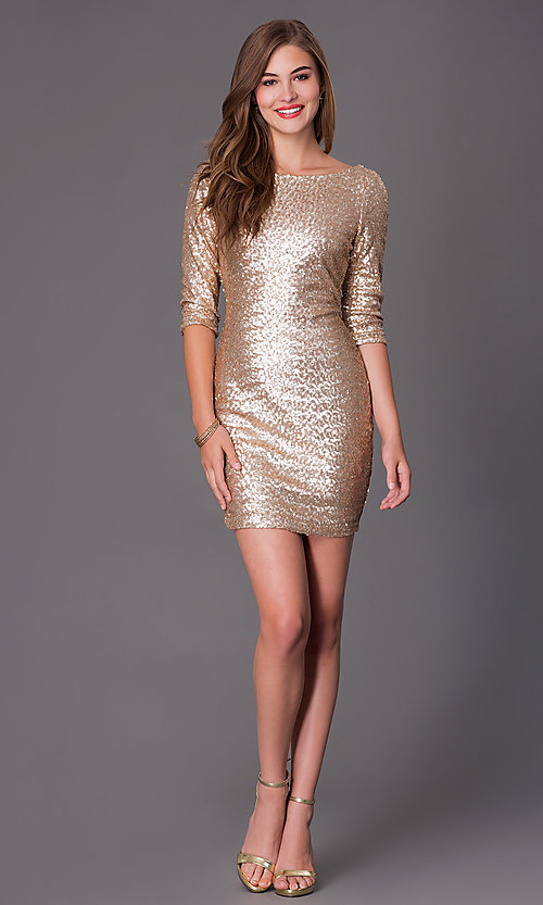 Ruby Rox Short Sleeve Gold Sequin Dresses- PromGirl