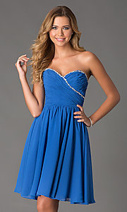 Image of Mori Lee Short Strapless Dress Style: ML-191 Front Image