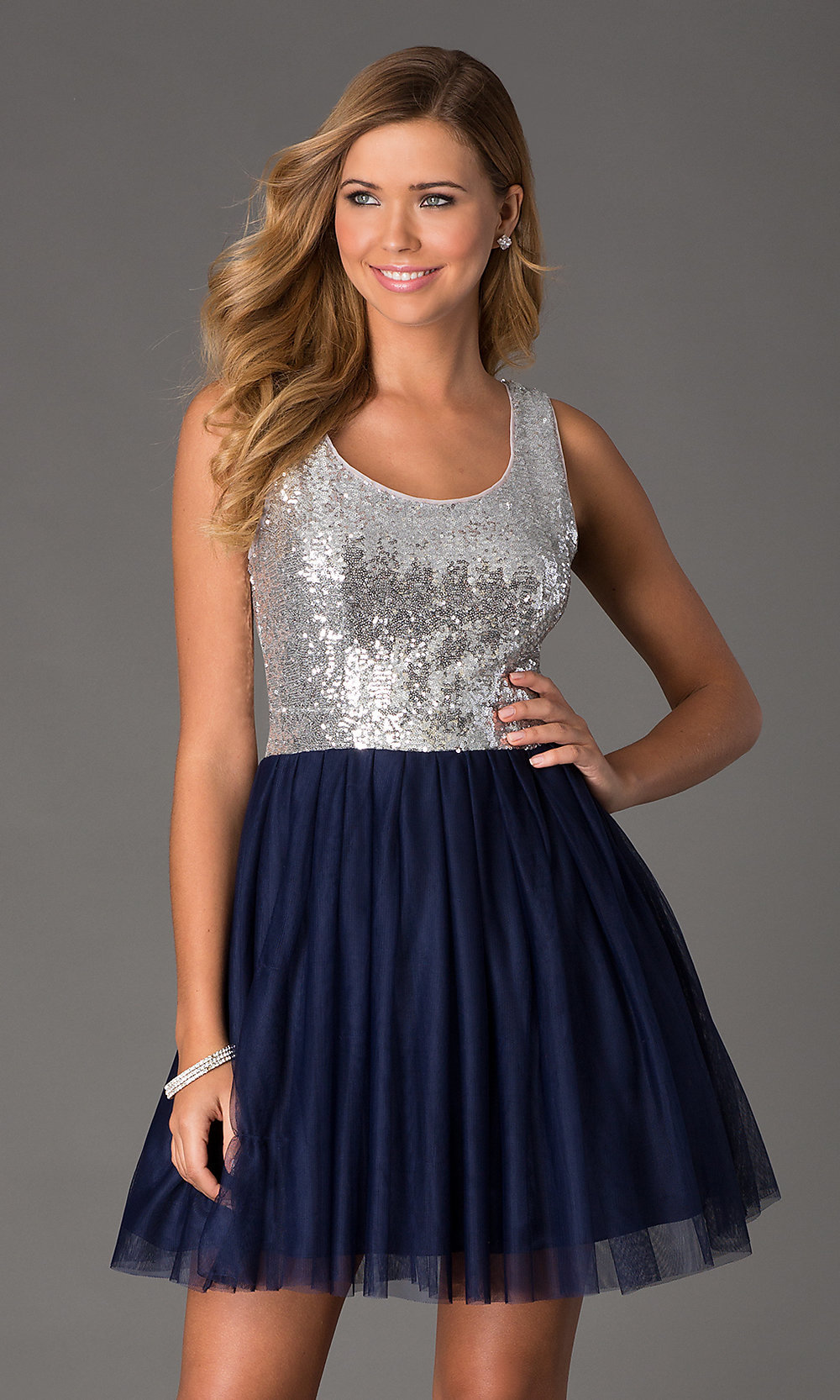 Silver Sequin Blue Cocktail Dress Blue Dress-PromGirl