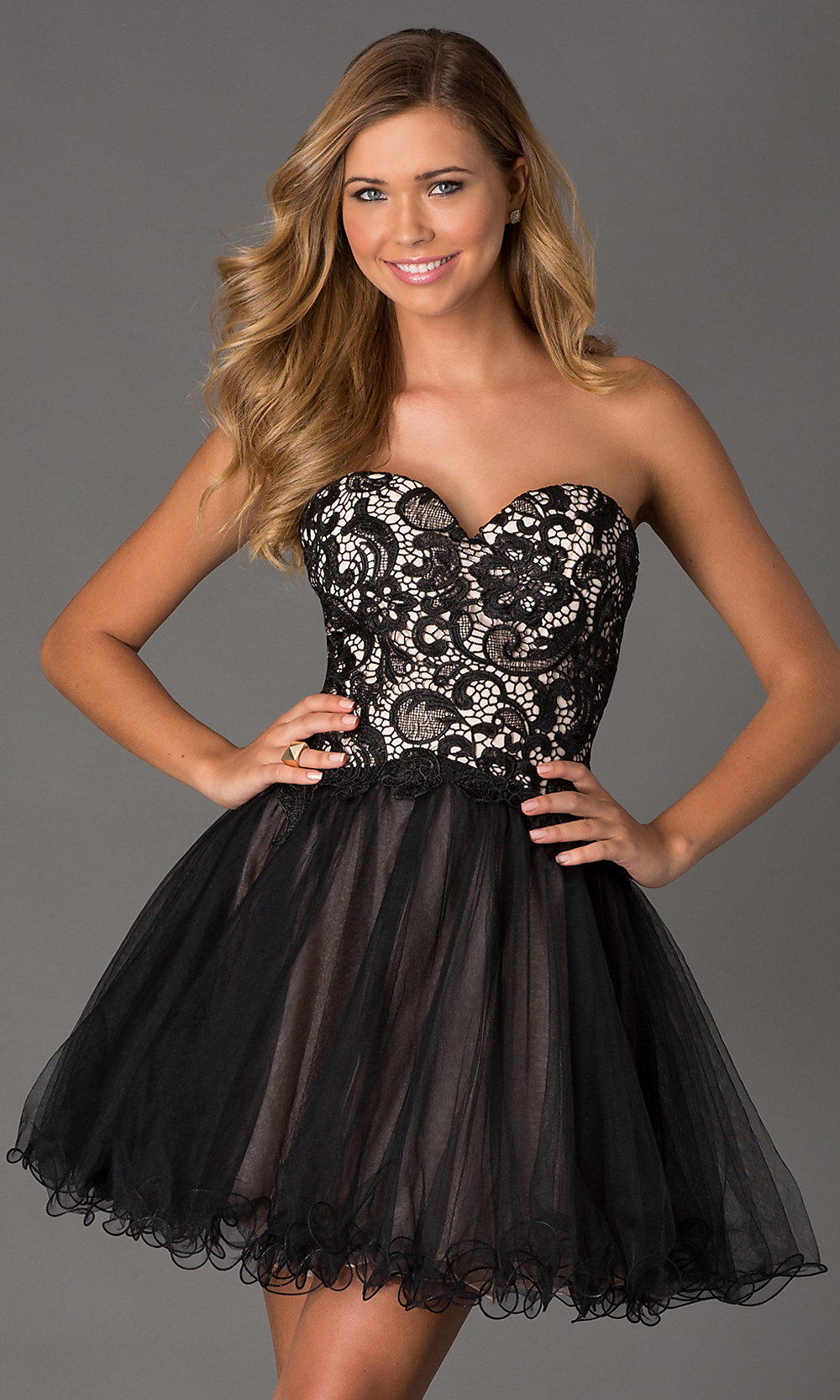 Strapless Lace Up Party Dress, Prom Dress