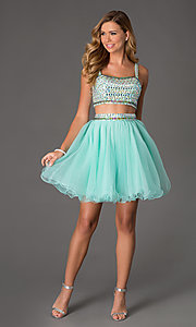 Image of beaded two-Piece short crop-top prom dress Style: NA-6031 Detail Image 1