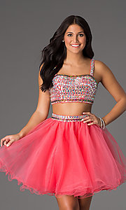 Beaded Two-Piece Short Crop-Top Prom Dress