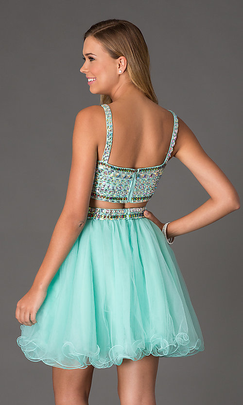 Image of beaded two-Piece short crop-top prom dress Style: NA-6031 Back Image