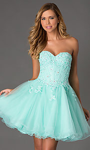 Strapless Corset Style Short Prom Dress