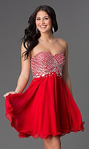Image of beaded corset-back strapless short dress Style: NA-6033 Detail Image 3
