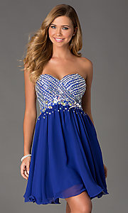 Beaded Strapless Short Dress