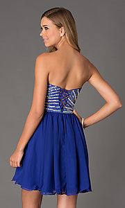 Image of beaded corset-back strapless short dress Style: NA-6033 Back Image