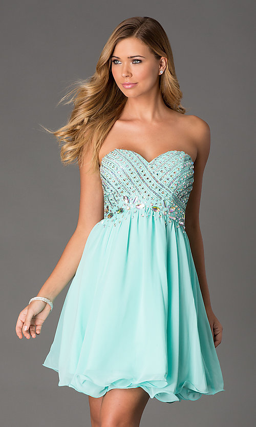 Image of beaded corset-back strapless short dress Style: NA-6033 Detail Image 2