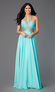 Image of Madison James floor-length halter prom dress. Style: NM-15-103 Front Image
