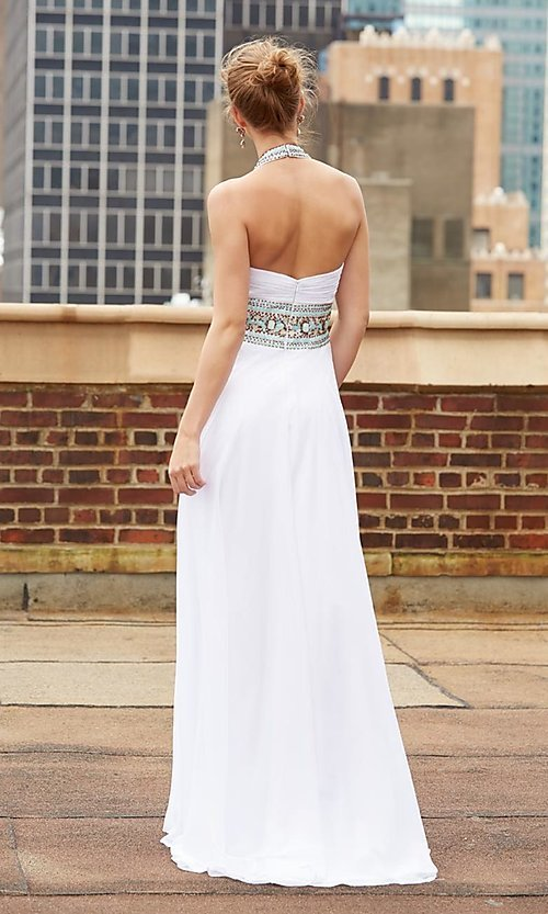 Image of Madison James floor-length halter prom dress. Style: NM-15-103 Back Image