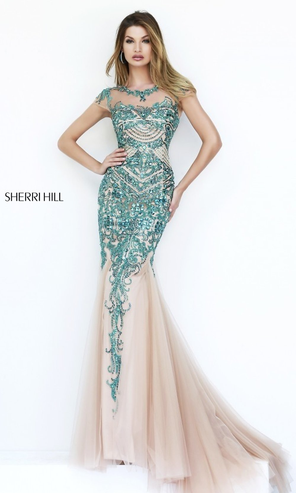 Long Cap Sleeve Sherri Hill Prom Dress