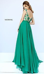 Image of long cap-sleeve sequined prom dress Style: SH-11214 Back Image