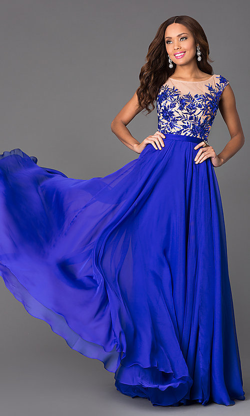 Image of long cap-sleeve sequined prom dress Style: SH-11214 Front Image