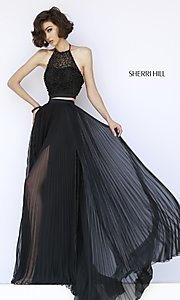 Black Two-Piece High-Neck Pleated Dress