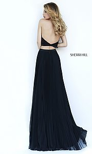 Image of black two piece high neck pleated skirt beaded top dress Style: SH-32109 Back Image