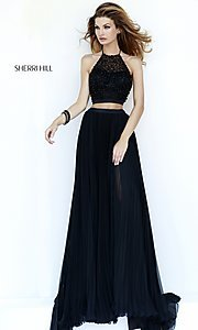 Image of black two-piece high-neck pleated dress Style: SH-32109 Detail Image 2