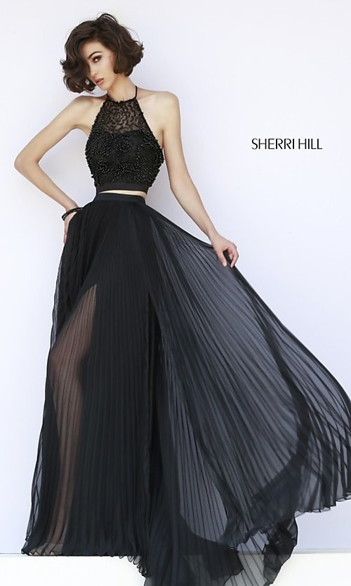 Image of black two-piece high-neck pleated dress Style: SH-32109 Front Image