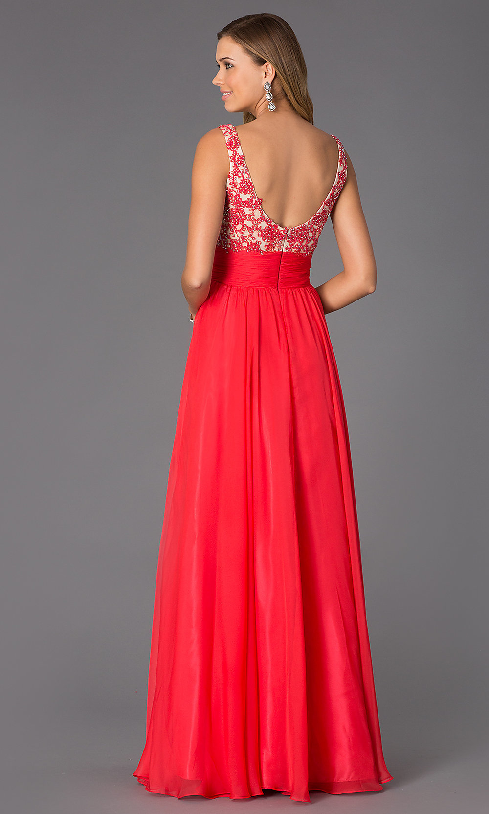 Long Scoop Neck Formal Dress,Alyce Sleeveless Gown 35689