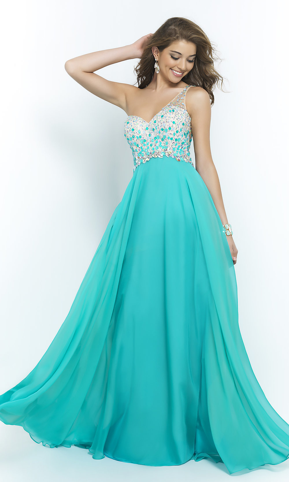 Blush One-Shoulder Pastel Prom Gown 9965