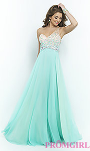 Image of one-shoulder Blush 9965 pastel prom dress.  Style: BL-9965 Detail Image 3
