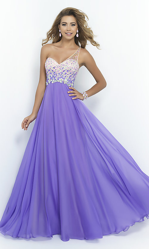 Image of one-shoulder Blush 9965 pastel prom dress.  Style: BL-9965 Front Image