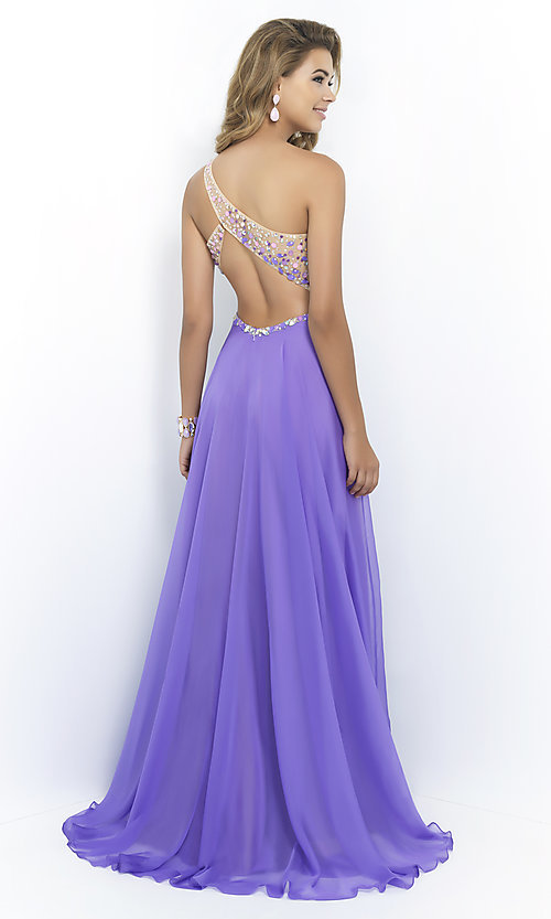 Image of one-shoulder Blush 9965 pastel prom dress.  Style: BL-9965 Back Image
