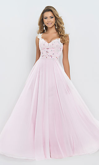 Blush Cap Sleeve Pink Prom Gown 9986