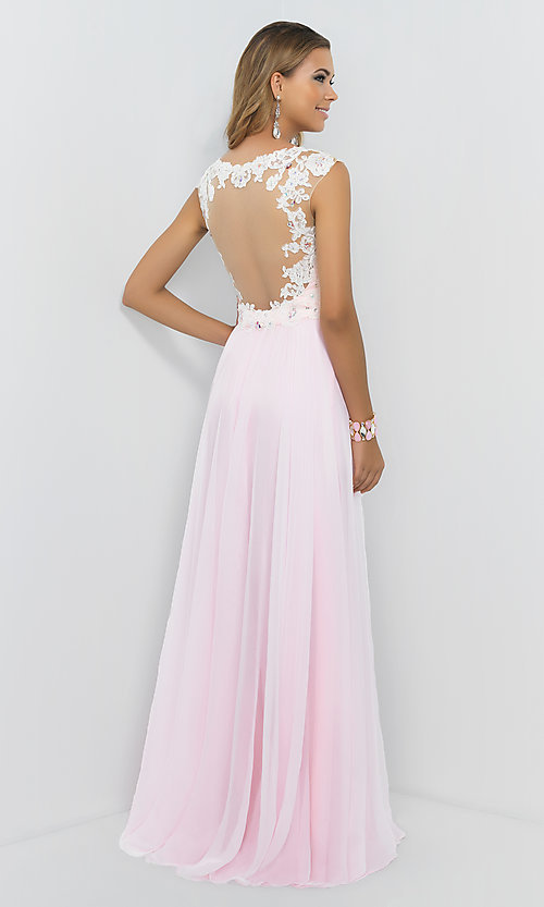 Image of Blush Cap Sleeve Pink Prom Gown 9986 Style: BL-9986 Back Image