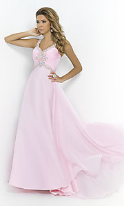 Blush Cap Sleeve Pink Prom Ball Gown 9986
